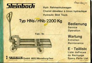 Rahmenhubwagen ein Handhubwagen  Bedienungsanleitung Rahmenhubwagen Steinbock 1973