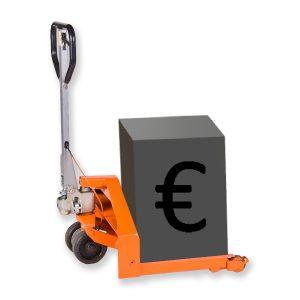 Münzcontainer Hubwagen mit grafischem Geldcontainer