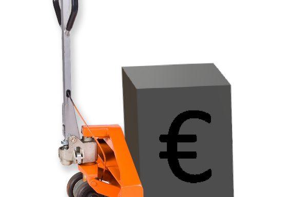 Münzcontainer-Hubwagen mit grafischem Hartgeldcontainer